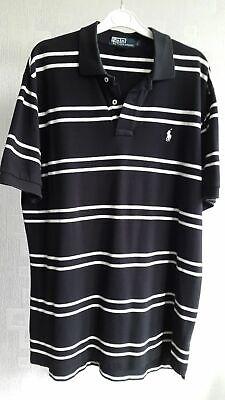 Custom Fit-polo Top (Ralph Lauren Men`s Custom fit Polo Shirt Black White Striped Top Size L)