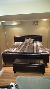 Leather Sleigh Style Bed and Blanket Box plus Comforter