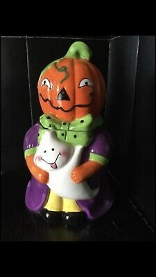 "Kitchen Worthy Halloween Pumpkin Girl Cookie Jar With Ghost 12"" H"