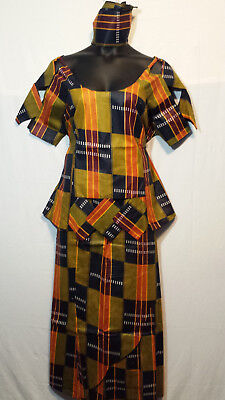 Women Clothing African Kente Print Ankara Skirt Suit w/ Wrap Skirt XL 44