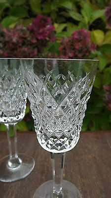 Waterford Crystal set of 7 stemmed small wine / sherry Glasses  fine cut Stamped