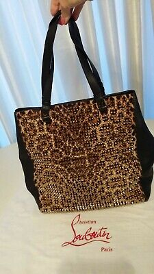 Christian Louboutin Panettone Shopping Bag, Leather/ brass black/leopard,