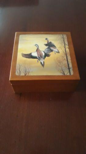 Coffret de 6 dessous de verre en bois et liège - décor canard - vintage @voir !!