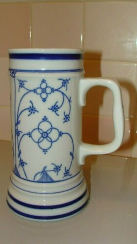"Vintage Porcelain BEREUTHER Indischblau Bavaria - Germany Beer Mug 7"" tall"