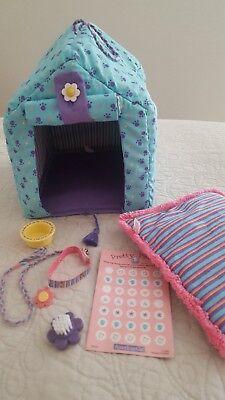 American Girl Coconut's Dog House Bed Collar Leash Brush Food Bowl