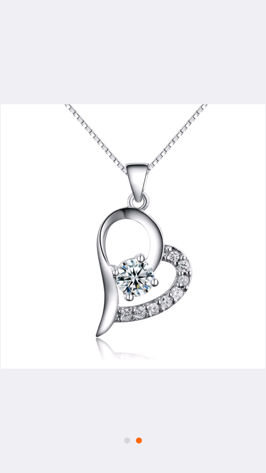 "BULK Sterling Silver Plated CZ Heart Pendant Necklace 18"" Wo"