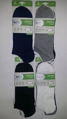 12 Pares calcetines deportivos invisibles. Varios colores. Algodón. Talla 40/46