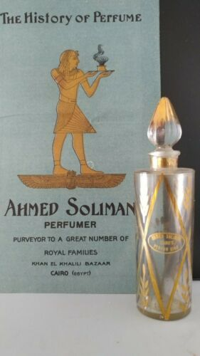 Antique Perfume Bottle Ahmed Soliman and Early Brochure VERY RARE 1920