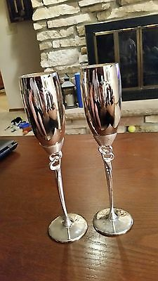 Vintage Silver Plate Toasting Flute Wedding Goblets Made by Things Remembered  - Wedding Goblets