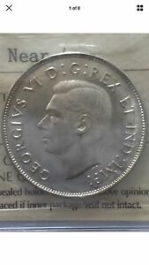 1944 Canadian Silver Fifty Cent Coin - ICCS Graded MS62