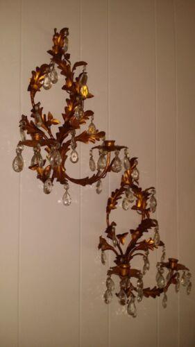 Pr Italian Gold Gilt & Crystal Tole Metal Leaf Hollywood Regency Candle Sconces