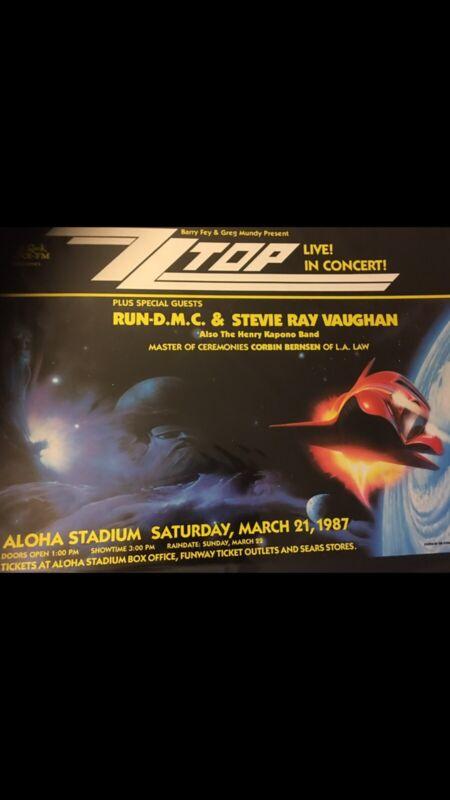 1997 ZZ TOP 🎸STEVIE RAY VAUGHN 🎤 RUN DMC        Vintage Hawaii Concert Poster