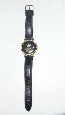 Vintage Pulsar Disney MICKEY MOUSE Watch Black Face w/ Date Black Leather Band