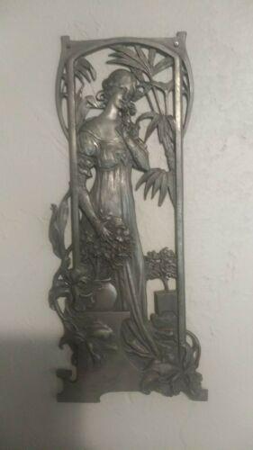 Art Nouveau Plaque of Maiden, Vintage Antique, Pewter