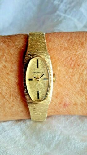 CARAVELLE LADIES VINTAGE WATCH WIND UP WORKING 10K R.G.P. BEZEL STAINLESS BACK