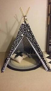 Kids Teepee Set inc Rug Cushions Black White Wilston Brisbane North West Preview