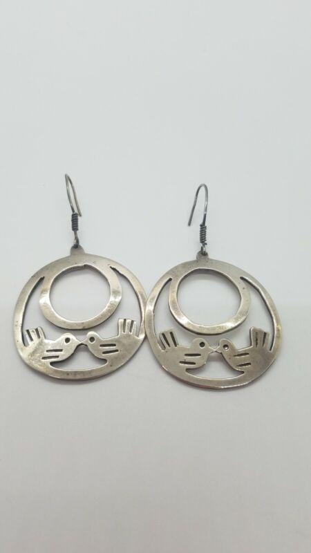 """Taxco Sterling Silver Love Bird Earrings 1.5"""" Dangle Hook Back"""
