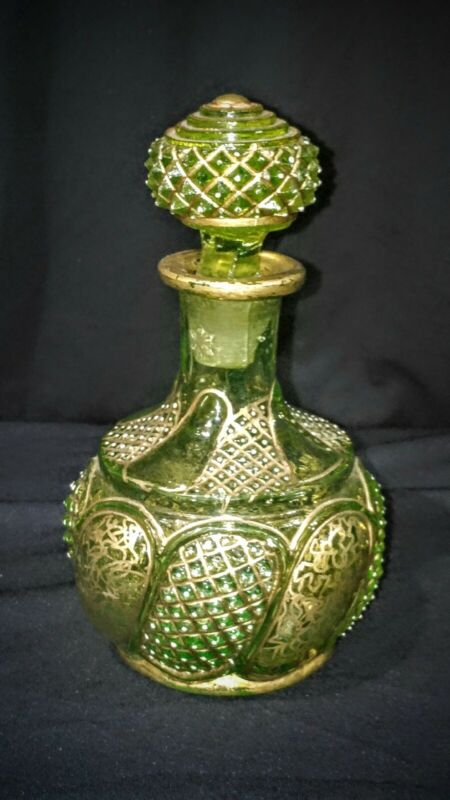 Victorian Persian Vaseline uranium green glass Gilt decorated perfume bottle