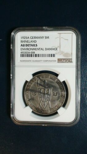 1925 A GERMANY FIVE MARKS NGC AU RHINELAND 5M SILVER Coin PRICED TO SELL !
