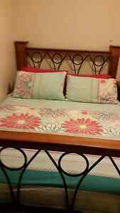 Queen size timber bed fram and mattress Meadow Heights Hume Area Preview