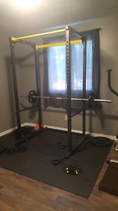 Squat Rack with Bench, Olympic bar and weights