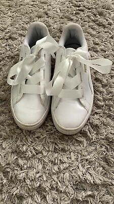 Puma Basket Heart Patent White leather junior/ladies trainers size 5.5(38.5)