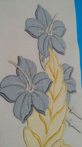 Madeira Guest Ivory Linen Hand Towel w/ Embroidered Grey Flowers Yellow Leaves