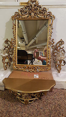 Vintage Rose Homco home interior Gold 6 pc mirror, shelf, sconces & votives set