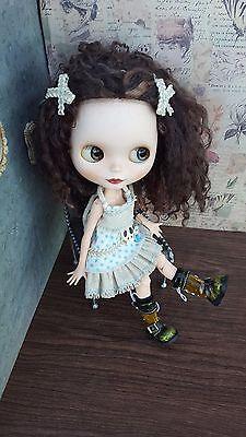 Custom Takara Blythe Doll SBL Velvet Minuet Mohair Reroot Scalp w/ Dress