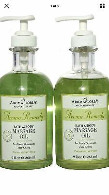 2 Pack Aromafloria Aromatherapy Aroma Remedy Bath and Body Massage Oil  9 -