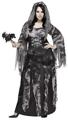 Women's Cemetery Bride Costume Fancy Dress Halloween Grey Dead Zombie Plus Size