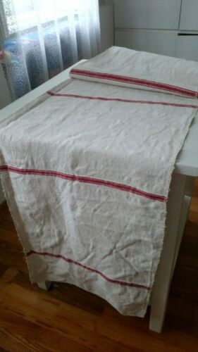 Antique french linen roll with red stripes  -  cover fabric  for   4 YARDS