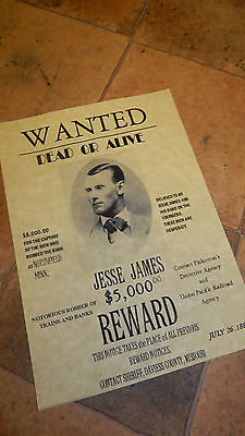 Jessie James 2 WILD WEST WANTED POSTER, Novelty reproductions, WESTERN COLT