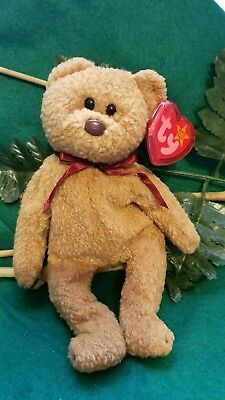 Curly Beanie Baby - Ultra Rare Retired Ty Beanie Baby Curly Bear 039 - 11 Errors - Mint Condition