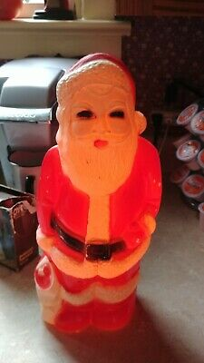"""VINTAGE OLDER UNION PRODUCTS APP 12"""" BLOW MOLD LIGHTED SANTA CLAUS FIGURINE"""