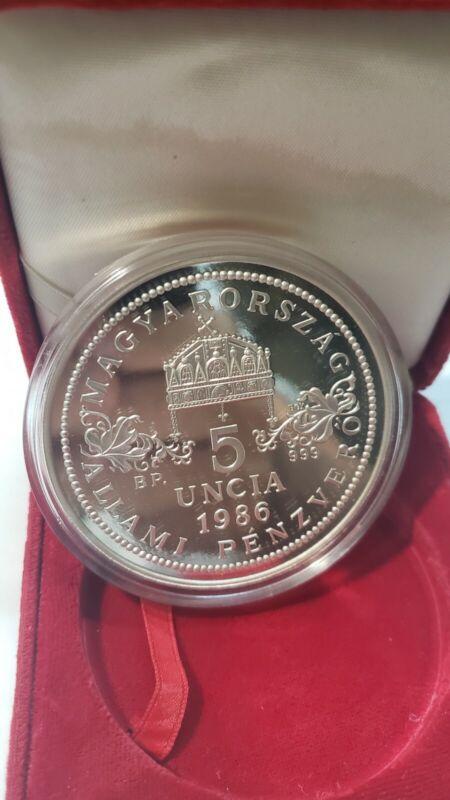 Y3 Hungary 1986 Silver 5 Oz. 5 Uncia Madonna & Child Proof w/ BOX No COA Rare