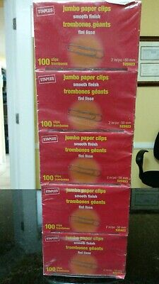 New Staples Brand Jumbo Paper Clips Smooth Finish 10 Packs 1000 Count Total