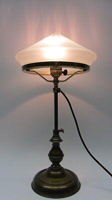 Tischlampe Lampe Jugendstil Schreibtischlampe Messing satiniertes Glas