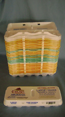 30 Used Styrofoam Egg Cartons All Large Arts Crafts Dozen Multi Color 12 Count