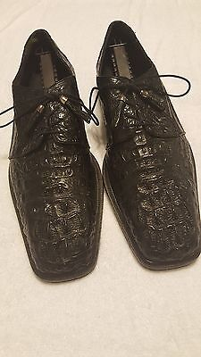 Romana Men's Handmand Genuine Crocodile Black Leather Shoes sz 12