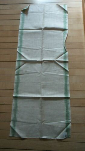 "Antique Linen Kitchen Hand Towel RED & GREEN STRIPE SIDES 44""X17"" Unhemmed"
