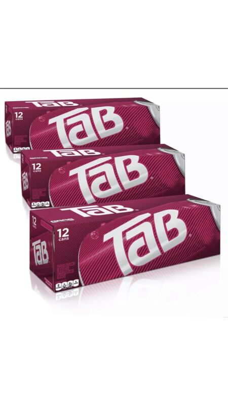 THREE 12-pack Tab Soda (36 Cans)