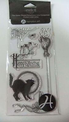 Graphic 45 Hampton Art ~ Halloween Cat Broom Owls Spider Clear Stamps  ~ D5 - Graphic 45 Halloween Stamps