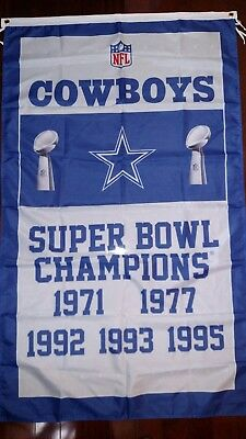 Dallas Cowboys 3x5 Super Bowl Champions Flag. Free shipping within the US