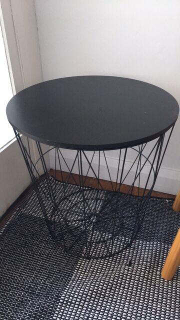 Black Metal Bedside Tables: Black Metal Wood Side Table With Storage