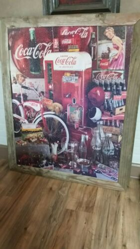 GIANT COCA COLA FINISHED JIGSAW PUZZLE MOUNTED RUSTIC WOOD FRAMED 40 X 48 (2)