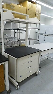 "36"" X 31"" X 77"" BLACK COMPOSITE TOP 4 DRAWER LABORATORY BENCH/TABLE UPPER SHELF for sale  Madawaska"