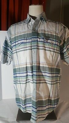 - ROPER Green Plaid Short Sleeve Pearl Snap Button Front Shirt Size Large