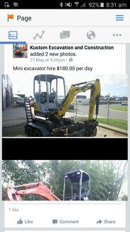Excavator hire  weekend sat/sun  $275
