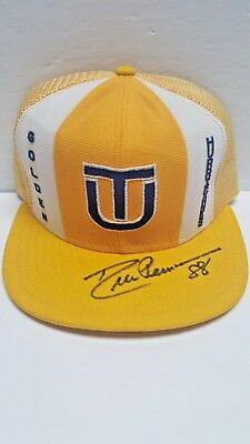 Tulsa Golden Hurricanes Lucky Stripes Hat 80's Snapback Signed by Drew Pearson